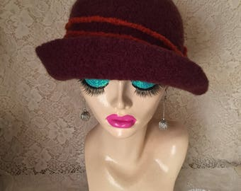 Chestnut Brown Vintage Inspired Crocheted Felted Cloche Flapper Hat 'Ronie'
