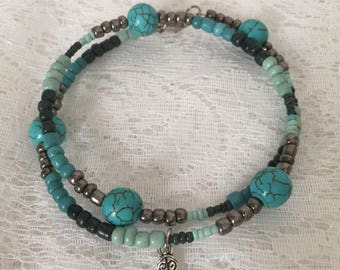 Turquoise Dyed Howlite 2 Loop Memory Wire Wrap Bracelet