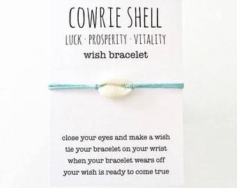 wish bracelet, inspirational jewelry, party favour, cowrie shell bracelet , friendship bracelet , beach bracelet , beachcomber boho jewelry