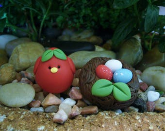 Patriotic Bird - Nest of Eggs - Red White Blue - Polymer Clay - Plant Stakes - Summer - 4th of July - Miniature Garden - Figurines