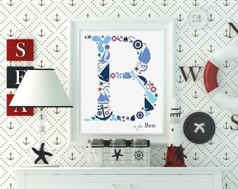 Nautical Monogram Print, Custom Nautical Monogram Print, Sailor Monogram Print, Nautical Nursery Decor Wall Art, Nautical Boy's Room Art