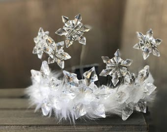 Snowflake Crown, Winter Crown, Childs Christmas Crown, Christmas Crown, Headpiece, Tiara, Snowflake Crown, Ice Crown, Christmas Tiara.