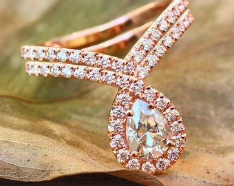 """Pear shaped Moissanite & Diamonds engagement """"bliss"""" ring with matching diamond wedding ring 