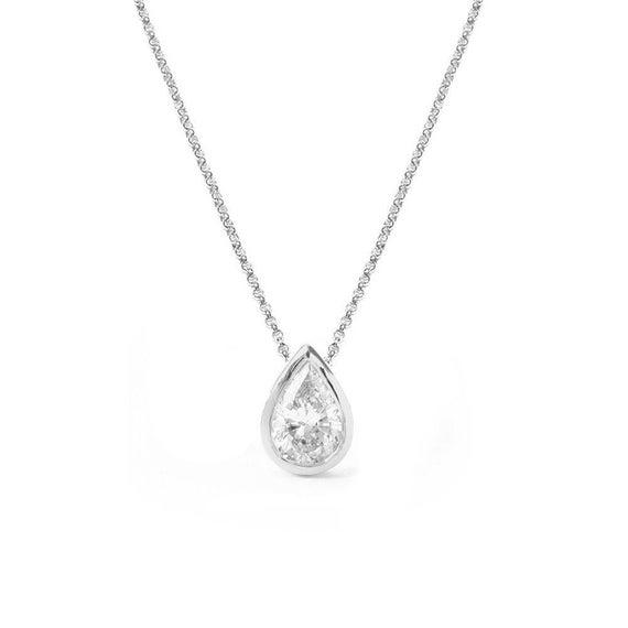 Pear shaped 03 ct diamond bezel setting pendant necklace 14k like this item aloadofball Image collections