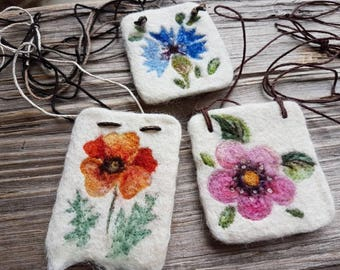 Floral felted necklace decorated with dry / needle felting / Estonia inspired jewelry