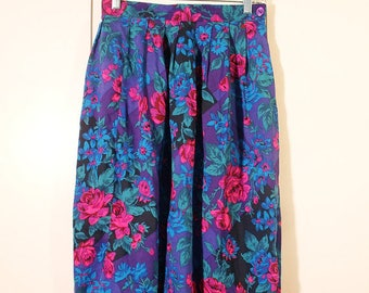 vintage 1980s high waist bright floral print midi skirt/size small to medium