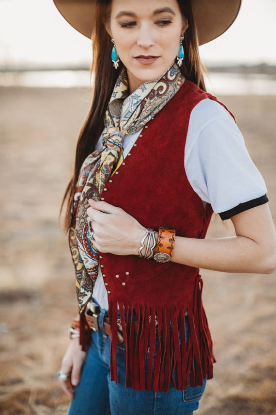 Red suede leather vest