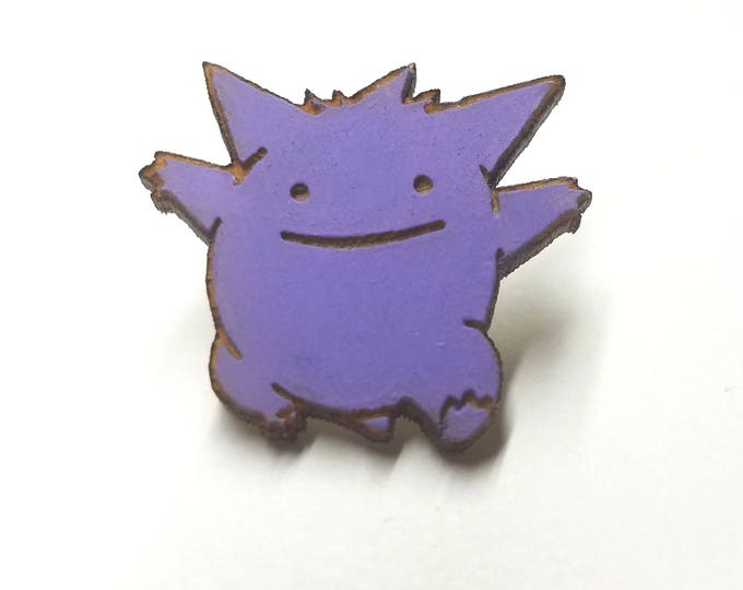 Ditto Gengar Pin | Laser Cut Jewelry | Wood Accessories