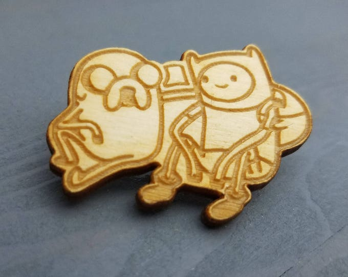 Adventure Time Finn and Jake Pin | Laser Cut Jewelry | Wood Accessories | Wood Pin | Handmade |