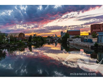Gowanus Canal, reflection, sunset, clouds, surreal, colorful, brooklyn, nyc, print, pentax, industrial, ephemeral, ethereal, beautiful, wow