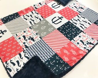 Navy and Red Nautical Minky Baby Blanket