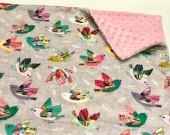 Pink and Grey Birds Baby Girl Blanket - Minky Baby Blanket, Joy in Flight Baby Blanket, Ready to Ship Baby Blanket, Pink Baby Shower Gift