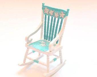 SPECIAL SALE Starfish AQUA & White Seaside Seashell Themed Rocking Chair 1:12 Dollhouse Miniature Furniture Hand-Painted
