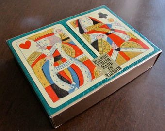 Waddingtons Playing Cards Sealed Double Decks in Box Old Style King and Queen c.1960s