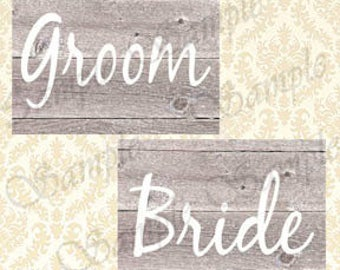 Wedding Signs, Printable Rustic Wood Style Bride and Groom Sign Set, Country Barnyard Wedding Decor, Shabby Chic Chair or Door Signs, 5x7