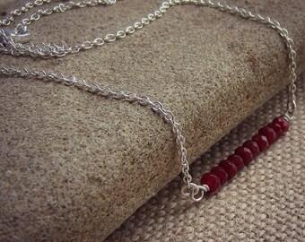 Gemstone Bar Necklace - Gemstone Necklace - Layering Necklace - Dainty Necklace - Bar Necklace - Sterling Silver - Minimal Necklace