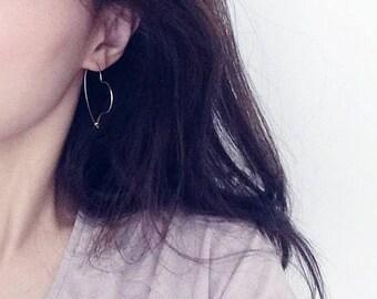 ON SALE heart Hoop Earrings - heart hoops - Gold / Silver Earrings