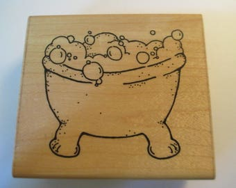 Bath Tub with bubbles Rubber Stamp For scrapbooking new never used