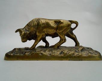 Brass Bull Paperweight Ornament