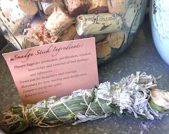 Sage, Sweet Pea, Rosemary, Lemon and Rose Smudge Stick