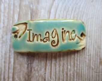 Imagine Cuff  ceramic connector bracelet bar artisan made