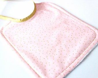 Pink bib with golden dots - ON ORDER