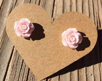 Pink Rose Bud Stud Earrings - Rose Bud Earrings - Rosebud Earrings - Resin Flower Roses Earrings - Luxie Creations