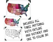 INDEPENDENCE DAY SALE Unite States Map Cross Stitch Pattern - Modern Cross Stitch Pattern - Design Your Own Cross Stitch Pattern