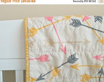 FLASH QUILT SALE Arrow Baby Quilt - Crib Quilt - Baby Blanket