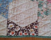 Antique Hand-Stiched Calico Star Quilt