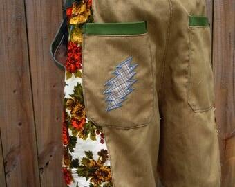 mens shorts patchwork Dude Shorts khaki hippie FLORAL botanical seven  30 32 34 36 38 40 earthy ready to ship festival burner