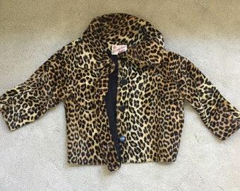 Vintage 1950's Chic Faux Leopard Jacket Coat Size L