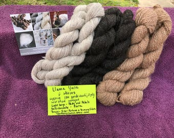 6 Yarn Skein Sampler of 100% Llama Yarn - 2-ply worsted