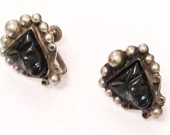 Aztec Earrings, Black Mask, Sterling Silver 1940s Vintage Jewelry SUMMER SALE