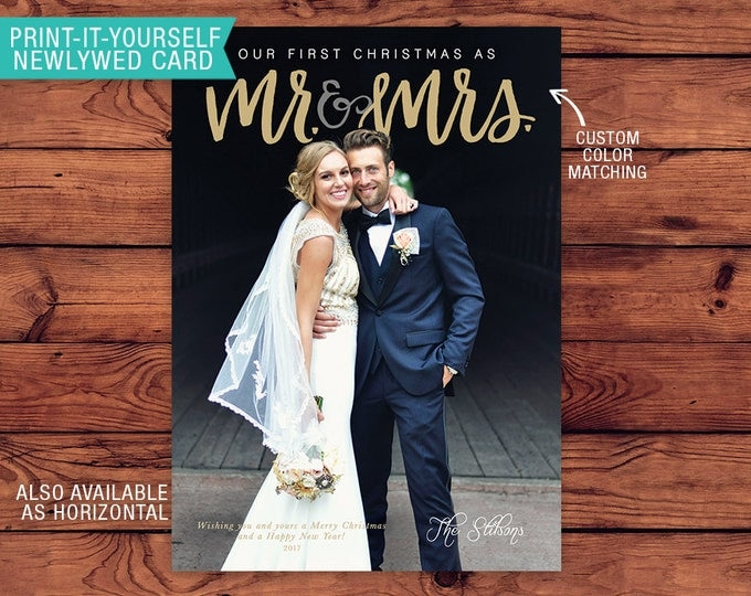 Featured listing image: Newlywed Printable Photo Christmas Card - First Christmas as Mr & Mrs