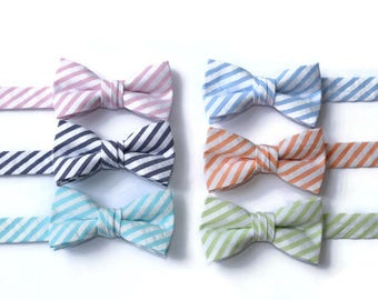 Boys Seersucker Bow Ties~Boys Bow Tie~Boys Bow Ties~Cotton Bow Tie~Navy Bow Tie~Church Tie~Plaid Bow Tie~Wedding~Ring Bearer~Gift