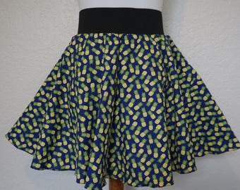 Pineapple Skirt, Fruit Skirt, Circle Skirt, Hipster Skirt, Skater Skirt
