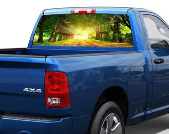 Nature forest Sun Rear Window Decal Sticker Pick-up Truck SUV Car