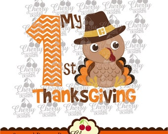 My 1st Thanksgiving Baby Turkey boy Svg Dxf,Thanksgiving Silhouette & Cricut Cut Files DGTH17 -Personal and Commercial Use