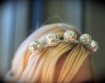 New Years Eve Couture Disco Ball Headband - Perfect Photo Prop or New Years Eve Ball Celebration