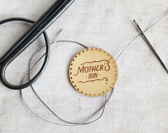 Mothers Ruin Patch, Gin lover gift booze stocking filler gin accessories mothers ruin sunburst leather patch jenever