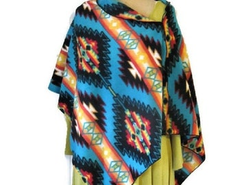 ON SALE Poncho, Native American Style, Wrap, Shawl, Turquoise, Blue Aztec, Asymmetrical, Top, Vintage, Handmade Gifts For Her, Women's Cloth
