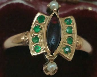 Antique Victorian 12K Gold Genuine Ruby Emeralds  & Pearl Ring, 1860s