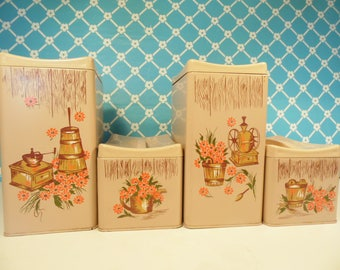 Vintage Metal Ransburg Kitchen Canisters - Set Of 4 - Early American - Country Decor