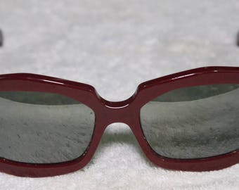 Vintage LA Eyeworks Burgundy Mirrored Rx Sunglasses