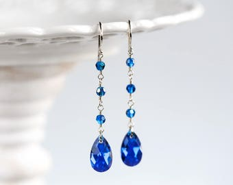 Blue earrings Swarovski earrings Bridal blue earrings Bridesmaid gift earrings Silver teardrop earrings Long earrings Earrings SWAROVSKI 846