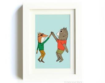 High Five Print - High 5 Animals - Friendship Print, Huzzah, Fox, Bear, 5x7 Print