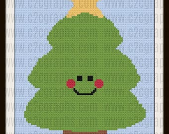 Happy Pine Afghan, C2C Graph, Written Word Chart