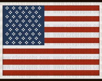 USA Flag Afghan, C2C Graph, USA Flag Crochet Pattern
