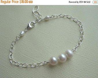 Christmas in July SALE Flower Girl Gift, Pearl Bracelet, Wedding Jewelry, Sterling Silver Bracelets, Row of Pearls